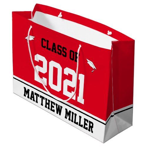 Class of 2021 and Name on Red and White Template Large Gift Bag