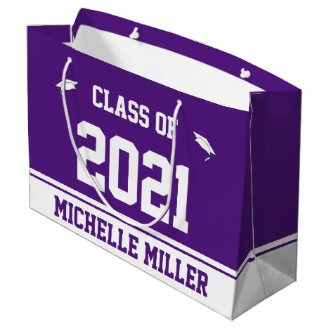 Class of 2021 and Name on Royal Purple and White Large Gift Bag