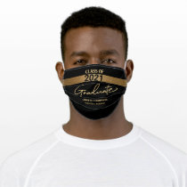 Class of 2021 Black Gold Name Graduation Adult Cloth Face Mask