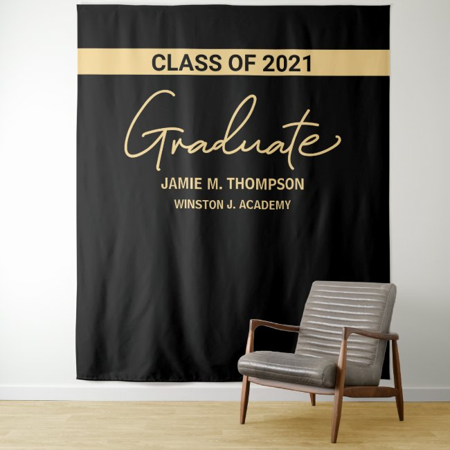 Class of 2021 Black Gold Name Graduation backdrop