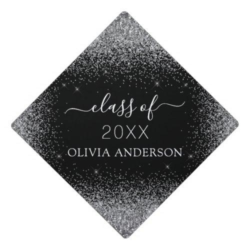 Class of 2021 Black Silver Glitter Graduate Graduation Cap Topper