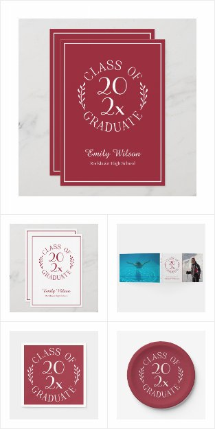 Class of 2021 Burgundy White Graduation Supplies