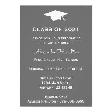 Class Of 2021 Cap Graduation Invitation (Gray)