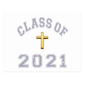 Class Of 2021 Christian Cross - Grey 2 Postcard