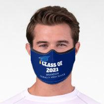 Class of 2021 Custom Senior Name Blue Graduation Premium Face Mask