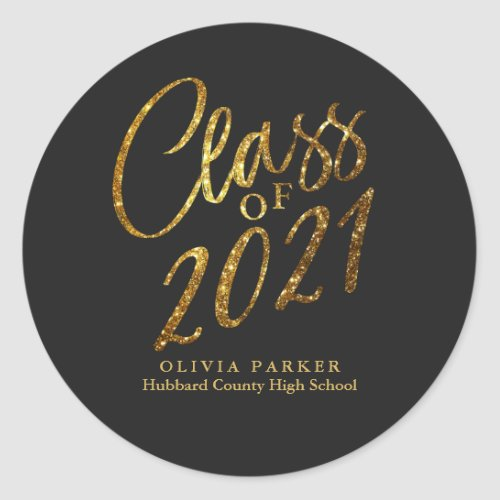 Class of 2021 Gold Black Graduation Party Favor Classic Round Sticker