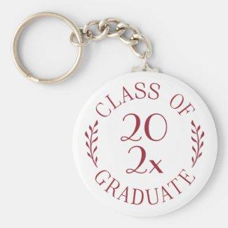 Class of 2021 Graduate Burgundy Typography White Keychain