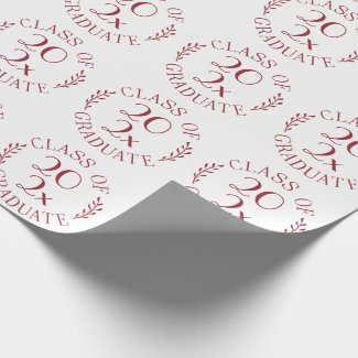 Class of 2021 Graduate Burgundy White Typography Wrapping Paper