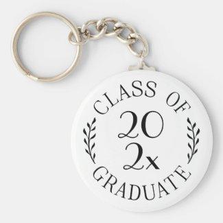 Class of 2021 Graduate Chic Black Typography White Keychain