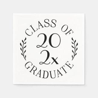 Class Of 2021 Graduate Chic Black White Typography Napkins