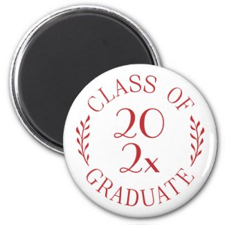 Class of 2021 Graduate Chic Red Typography Magnet