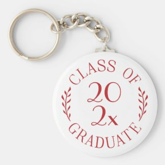 Class of 2021 Graduate Chic Red Typography White Keychain
