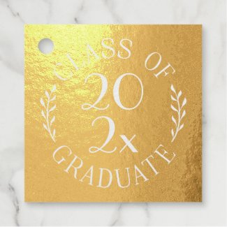 Class of 2021 Graduate Chic Typography Gold Foil Favor Tags