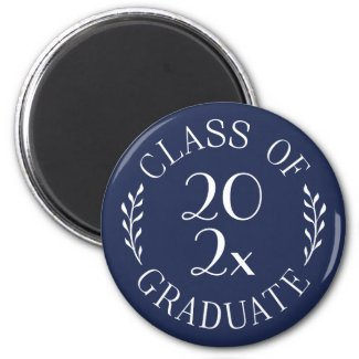 Class of 2021 Graduate Chic Typography Navy Blue Magnet