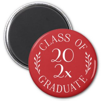 Class of 2021 Graduate Chic Typography Red Magnet