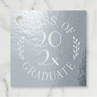 Class of 2021 Graduate Chic Typography Silver Foil Favor Tags
