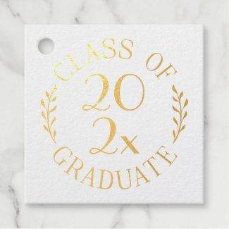 Class of 2021 Graduate Gold Typography Custom Text Foil Favor Tags