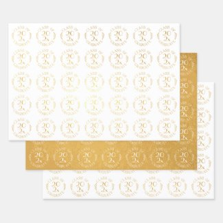Class of 2021 Graduate Gold White Typography Foil Wrapping Paper Sheets