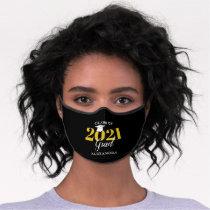 Class of 2021 Graduate Modern Black & Gold Premium Face Mask