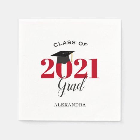Class of 2021 Graduate Modern Red Napkins