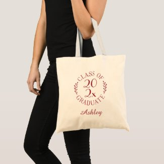 Class of 2021 Graduate Name Burgundy Typography Tote Bag