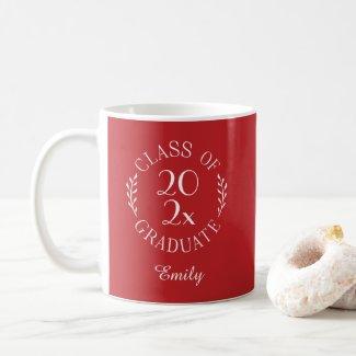 Class of 2021 Graduate Name Typography Red White Coffee Mug