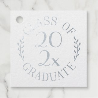 Class of 2021 Graduate Silver Typography Your Text Foil Favor Tags