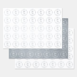 Class of 2021 Graduate Silver White Typography Foil Wrapping Paper Sheets