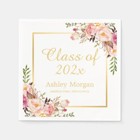 Class of 2021 Graduation Elegant Gold Chic Floral Napkins