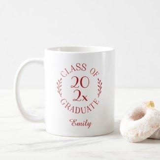 Class of 2021 Name Red Typography Graduation Coffee Mug