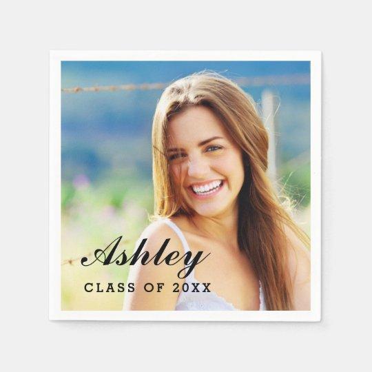 Class of 2021 Personalized Graduation Photo Paper Napkins