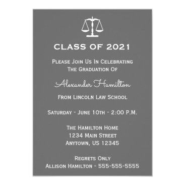 Class Of 2021 Scales Graduation Invitation (Gray)