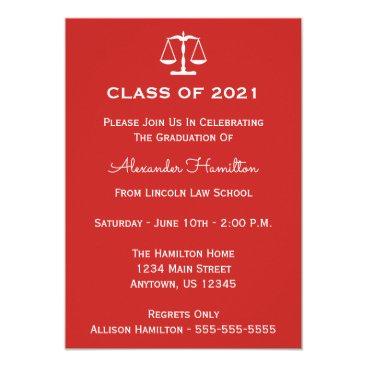 Class Of 2021 Scales Graduation Invite (Red)
