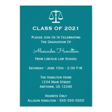 Class Of 2021 Scales Graduation Invite (Turquoise)