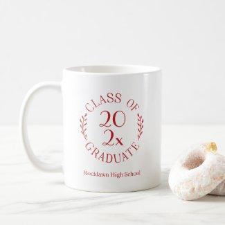 Class of 2021 School Name Red Emblem Graduation Coffee Mug