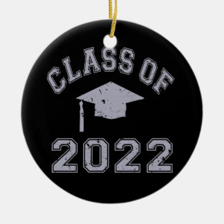 Class Of 2022 Graduation - Grey 2 Double-Sided Ceramic Round Christmas Ornament