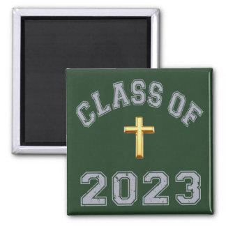 Class Of 2023 Christian Cross - Grey 2 Magnet