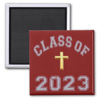 Class Of 2023 Christian Cross - Grey 2 Magnets