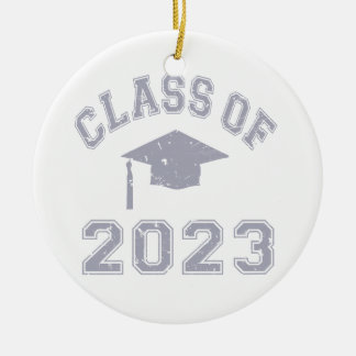 Class Of 2023 Graduation - Grey 2 Double-Sided Ceramic Round Christmas Ornament