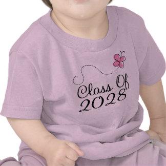 Class Of 2028 Cute Pink Butterfly Baby T-shirt