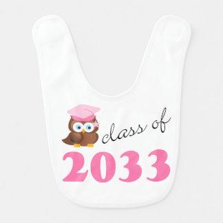 Class Of 2033 Future Graduate Owl Baby Girl Bib