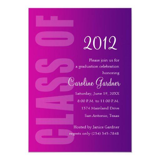 Class of 20XX Graduation Any Color w Purple Fade Invite