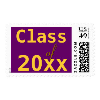 Class of 20xx Graduation Purple and Gold Postage