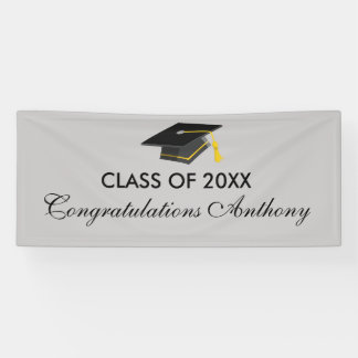 Class of 20XX Grey Cap Graduation Banner