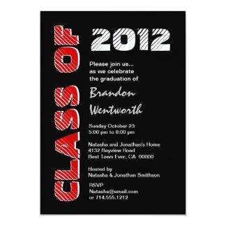 Class of 20xx Modern Black Red White 5x7 Paper Invitation Card