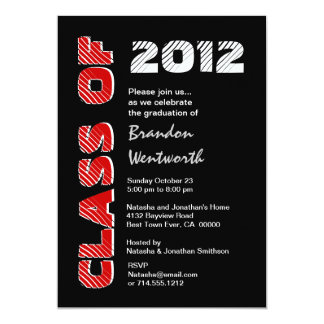 Class of 20xx Modern Black Red White 5x7 Paper Invitation Card