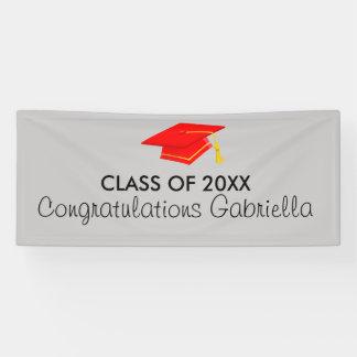 Class of 20XX Red Cap Graduation Banner