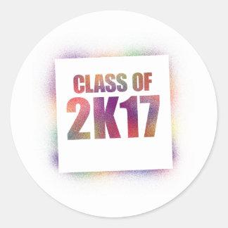 class of 2k17, class of 2017 classic round sticker