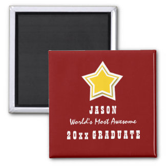 Class of ANY YEAR Awesome Graduate Z02 GOLD STAR 2 Inch Square Magnet