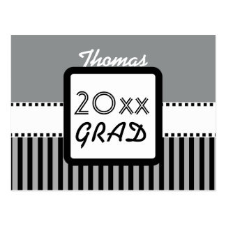 Class of ANY YEAR Silver Black Stripes Custom Z20 Postcard